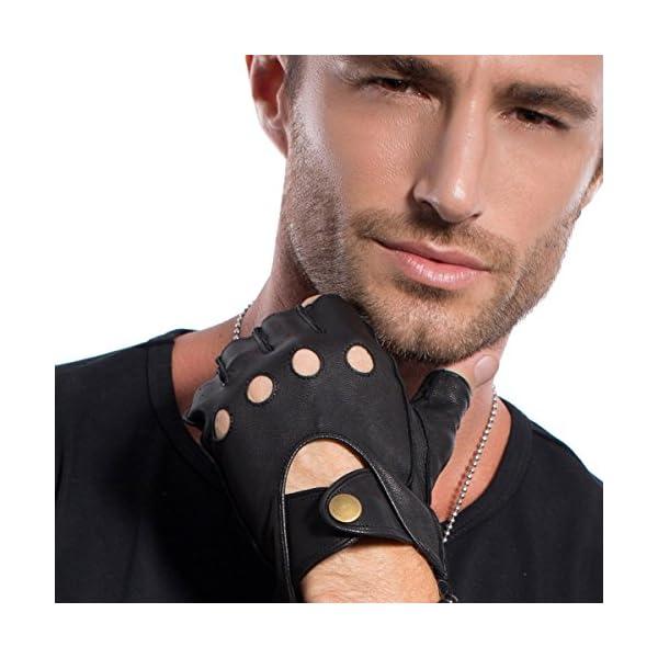 MATSU Half Finger Mens Leather Gloves Fingerless Unlined Black M1076S 3