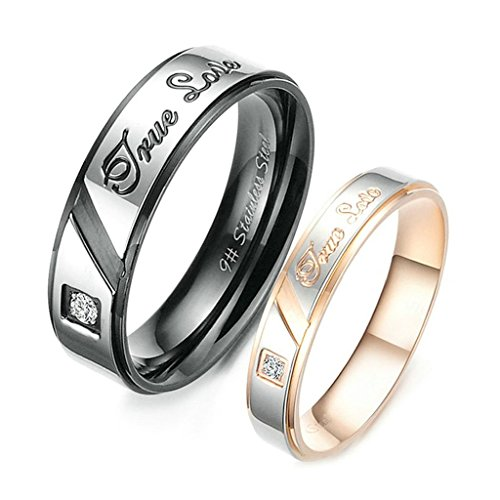 Aooaz Stainless Steel Rings For Women CZ Black Silver Gold Bands Size 5 Couples Promise Free Engraving