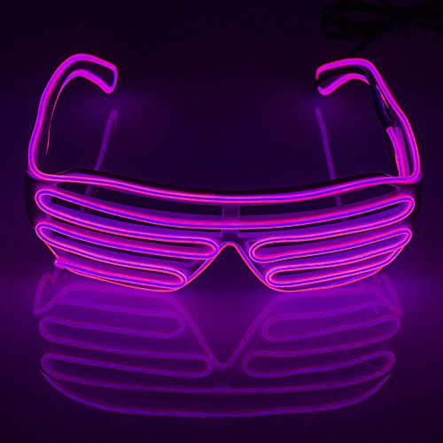 Fronnor Christmas Light Up Flashing LED Sunglasses Party Lighting Glasses El Wire Neon LED Light Up Glasses Shutter Shaped Glasses For Party Favors(Pink)