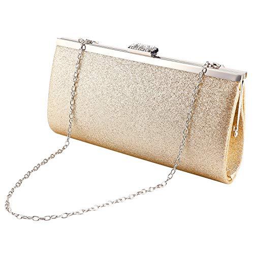 Anladia Glitter Design Crystal Rhinestones Block Top Clasp Women Clutch Evening Handbag Gold