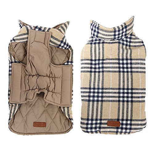 - Kimfoxes Pet Dog Jacket Vest Windproof Garment Waterproof Snowproof Clothing Waistcoat Winter Warm Clothes Reversible British Style Grid Plaid Dog Coat for Medium Large Dogs(Beige XS)