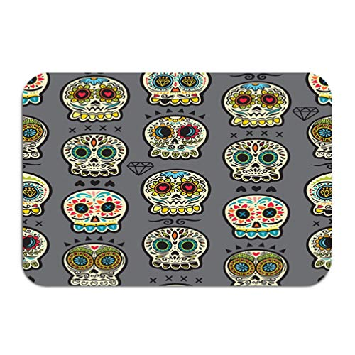 zengjiansm Outside Shoe Non-Slip Color Dot Doormat Mexican Day Dead Colorful Skull Cute Pattern Seamless Cartoon Calaveras Sugar Mats Entrance Rugs Carpet 16 24 ()