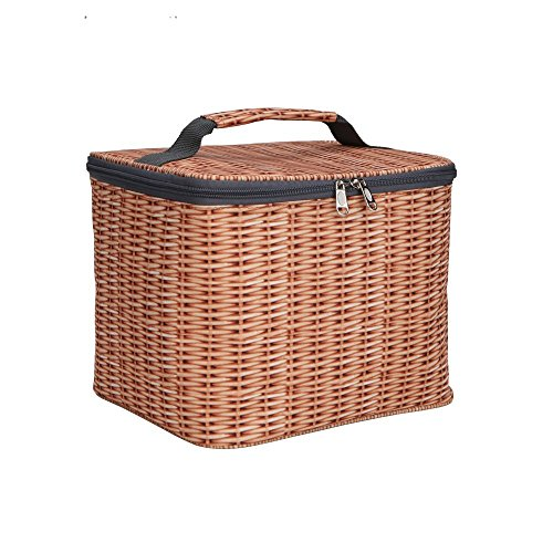 Lunch Bag Wicker Fabric Cooler Bag Foldable Thermal Tote ABNII Insulated Picnic Lunch Bag Delight Quilted Bag