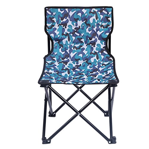 Contemporary Folding Camp Chair Sketch Chair Lightweight and Durable Outdoor Blue Camouflage Fabric Seat Padded with Armrest Portable Festival Fishing Travel Seat with Carry Bag ()