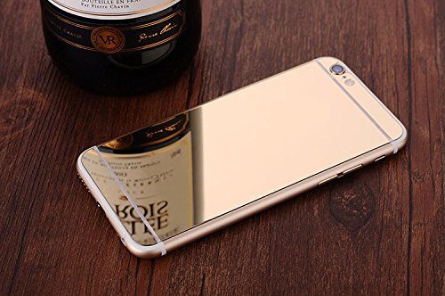 Sunroyal® Anteriore Posteriore-Pellicola Schermo in Vetro Temperato per Apple iPhone 6 / 6S 4.7 pollice Silicone, con Stampa ad Alta Definizione (HD), Anti-graffio Facile da Installare e Effetto Mirro Oro