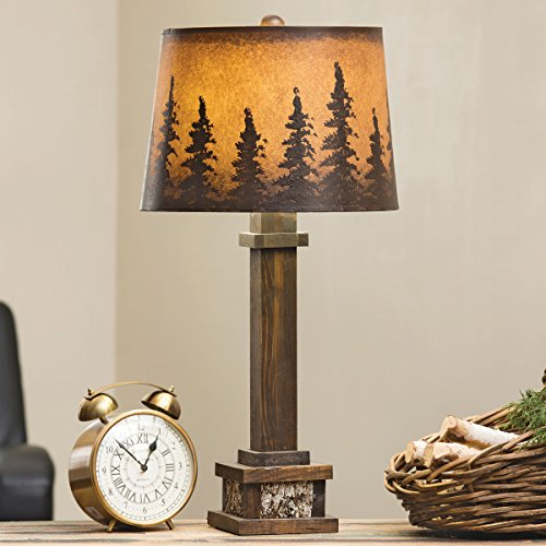 Rustic Forest Wood Table Lamp