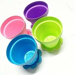 """4colores plástico macetas macetas con platillos, 6""""(rosa, azul, morado y verde)"""