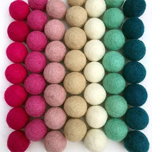 100% Handmade Wool Felt Pom Poms - (50) Pure New Zealand Wool Felt Balls - DIY Pompoms - Assorted Pastel Colors - 0.8-1.0