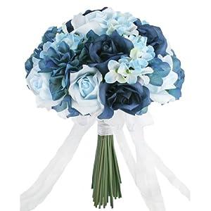 Hydrangea Rose Navy Light Beach Blue Hand Tie Medium - Silk Bridal Wedding Bouquet 15