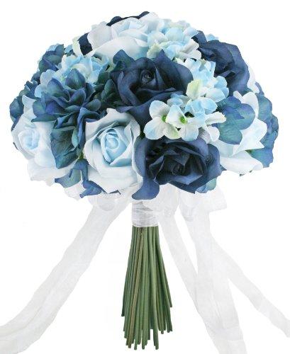 Hydrangea Rose Navy Light Beach Blue Hand Tie Medium - Silk Bridal Wedding (Beach Bridal Bouquets)
