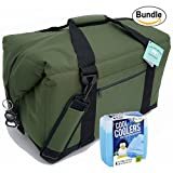 Polar Bear Coolers Nylon Series Soft Cooler Tote Size 48 Pack Green & Fit & Fresh Cool Coolers Slim Ice 4-Pack (Bundle)