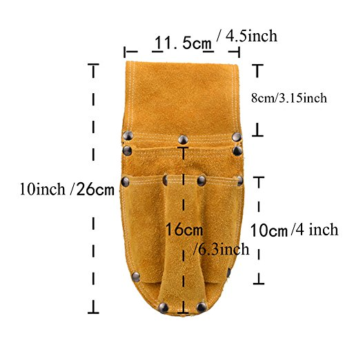 Professional Electrician Waist Work Apron Thick Cowhide Durable Woodworking Hardware Pliers Set Multi-function Tool Pocket for hammer Nail Screwdriver HJ0005 by TUYU (Image #4)