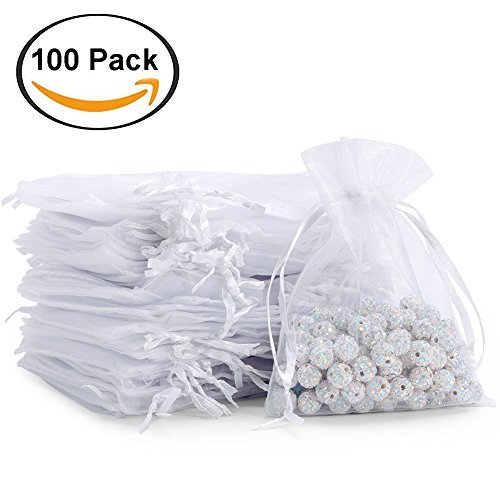 100pcs Drawstring Sheer Organza Bags Gift Jewelry Candy, used for sale  Delivered anywhere in Canada