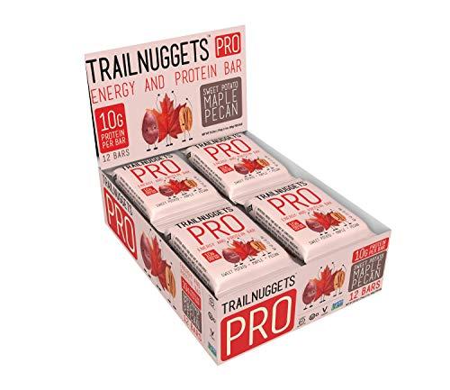 Trailnuggets PRO Protein Energy Bar Sweet Potato Maple Pecan Vegan NonGMO Gluten Free Soy Free Plant Based Protein Pack of 12