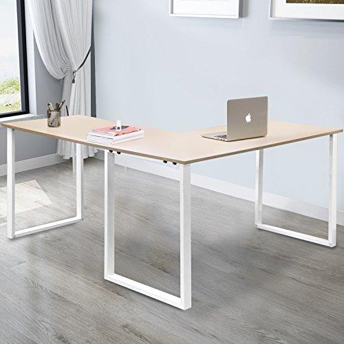 Merax L-Shaped Office Workstation Computer Desk Corner Desk Home Office Wood Laptop Table Study Desk (Oak) by Merax