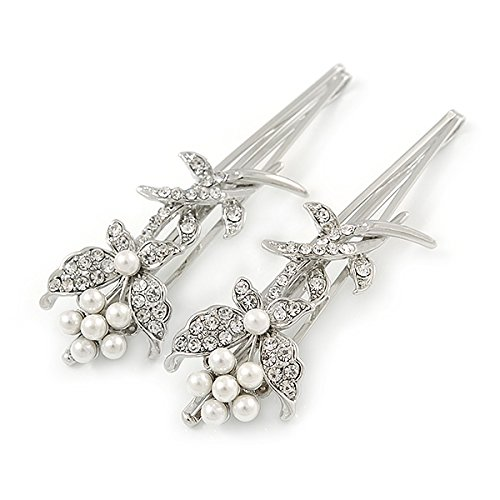 Avalaya 2 Bridal//Prom Clear Crystal 70mm L White Glass Pearl Butterfly Hair Grips//Slides in Rhodium Plating