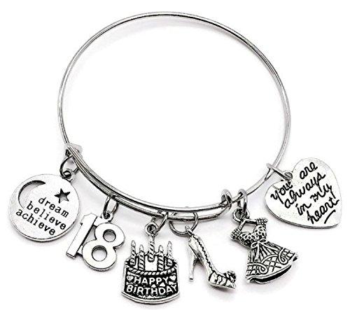 et, Birthday gift for girls, Birthday bangle bracelet, Birthday charm, dress charm, high heel charm, dream, believe, achieve charm, Birthday bangle jewelry (18th Birthday) ()