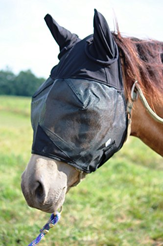 Horse Fly Mask with Ears, All Around Barn, Stable, Pasture, Trail Riding Fly and Sun Protection - Style: with Ears - Size: Yearling/Large ()