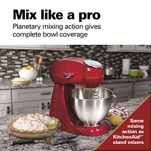 Hamilton Beach Eclectrics All-Metal 12-Speed Electric Stand Mixer, Tilt-Head, 4.5 Quarts, Pouring Shield, Red (63232),
