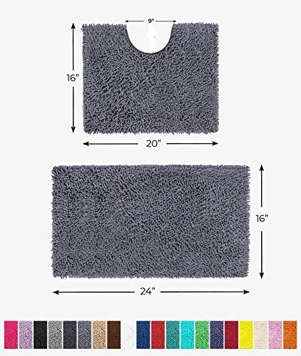 LuxUrux Bathroom Rugs Luxury Chenille 2-Piece Bath Mat Set, Soft Plush Anti-Slip Bath Rug +Toilet Mat.1'' Microfiber Shaggy Carpet, Super Absorbent Machine Washable Mats (Curved Set Mini, Dark Gray)