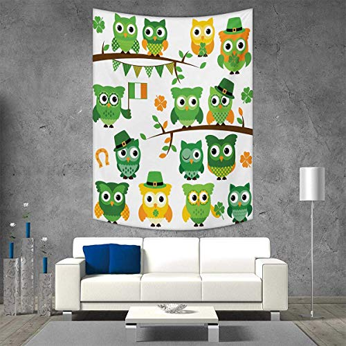 (smallbeefly St. Patricks Day Wall Hanging Tapestries Irish Owls Leprechaun Hats on Trees Shamrock Leaves Horseshoe Large tablecloths 60W x 91L INCH Green White)