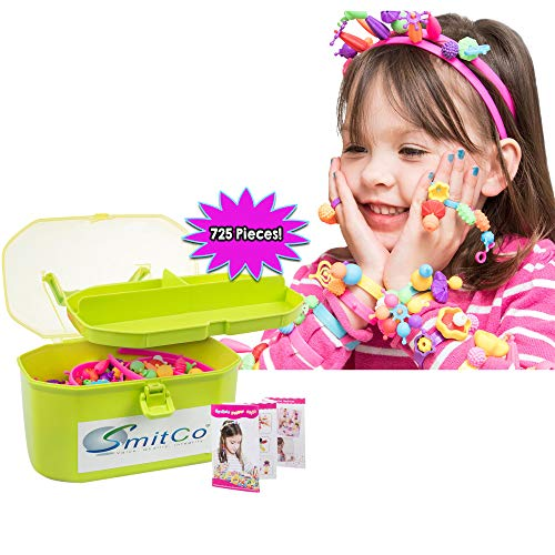 SMITCO Pop Beads - Play Snap Jewelry Making Kit for Kids, Girls, Toddlers - 725 Piece Preschool Crafts - Lock or Pop Together Connecting, Interlocking, Sensory Toys with Headbands, Bracelets and Rings