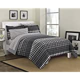 Loft Style Houndstooth Ultra Soft Microfiber Bedding Comforter Set, Gray, Queen