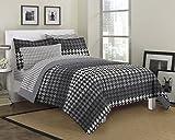 Loft Style Houndstooth Ultra Soft Microfiber Bedding Comforter Set, Gray, Queen