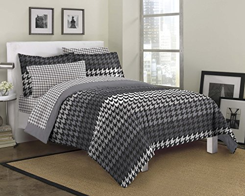 Loft Style Houndstooth Ultra Soft Microfiber Bedding Comforter Set, Gray, Full
