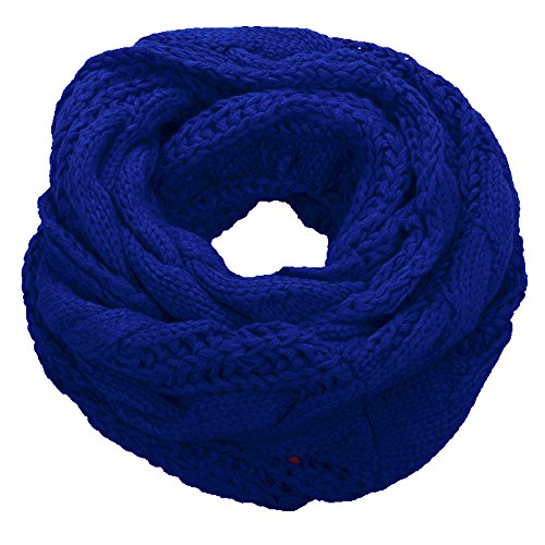 Long Cable Scarf Knit (NEOSAN Womens Thick Ribbed Knit Winter Infinity Circle Loop Scarf Twist Blue)