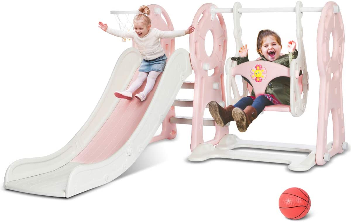 Pink Baby Toddler Gift Suitable for Home Playground Backyard Games Qazqa Children Folding Climbers Slide Set,Indoor and Outdoor Kids Slipping Slide Toy Playset with Basketball Hoop