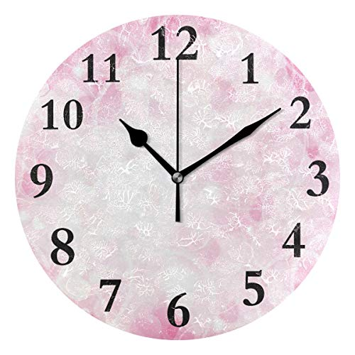 DERTYV Valentines Day Heart Stars Love You Summer Spring Non Ticking Silent Rhombus Wall Clock Decorative,Battery Operated Analog Quiet Round Wall Clock for Living Room, Kitchen, Bedroom