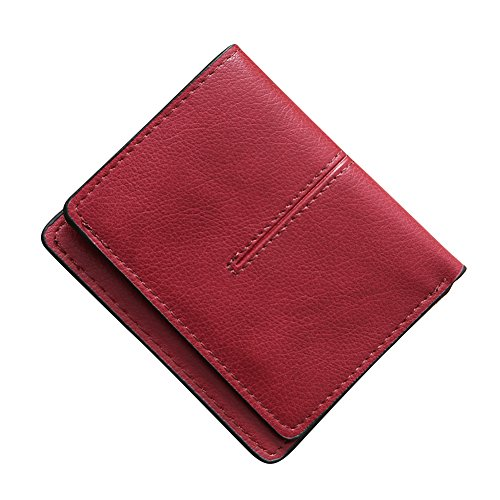 Card Color Solid Retro Leather Pink Blocking Wallet Holder Hearsbeauty Credit Thin Light Faux Red Pocket Wine WSzHqwYfSg