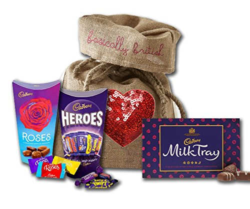 Cadbury chocolates Love Candy Fathers Day gifts by The Yummy Palette | Cadbury Roses Cadbury Heroes Cadbury Milk Tray assorted chocolates in LIMITED Heart Burlap Basically British Bag
