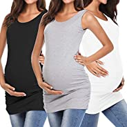 MissTalk Women Maternity Shirts Side Ruched Tank Tops Mama Cami Pregnancy Clothes