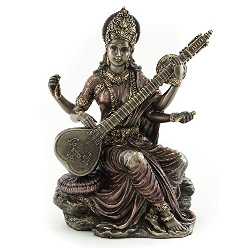 Top Collection Saraswati Statue- Hindu Goddess of Music and Wisdom Sculpture in Premium Cold Cast Bronze - 5.75-Inch Collectible East Asian Meditating Figurine ()