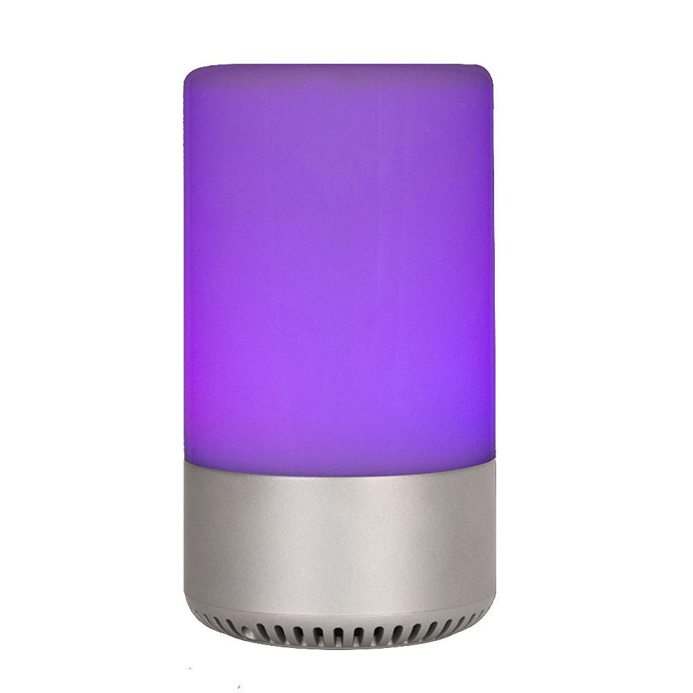 Sonmer Colorful Wireless Bluetooth Speaker, APP Control Touch Color Changing,Smart LED Light Lamp, MP3 Music Player (Silver)