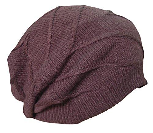 Unisex Oversized Knit Baggy Beanie Hat Cap Cable Knit Hat (Z-Baggy-Brown) (Brown Striped Beanie)