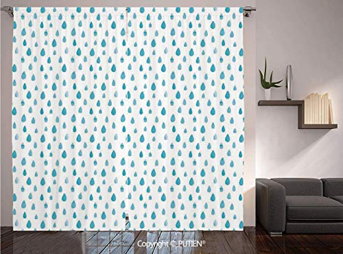 Thermal Insulated Blackout Window Curtain [ Farmhouse Decor,Watercolor Drip Drops Pattern in Various Sizes Terrain Humidity Zone Sign,Blue White ] for Living Room Bedroom Dorm Room Classroom Kitchen ()