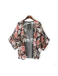 Coromose Vintage Floral Loose Shawl Kimono Boho Chiffon Cardigan Coat