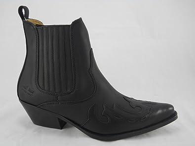 Johnny Bulls Herren Western Cowboy Stil Stiefelette Polster Schwarz