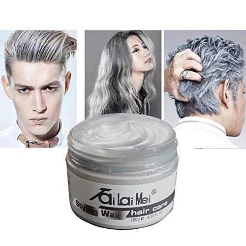 Temporary Silver Gray Hair Wax 4.23oz, Instant Hairstyle Mud Cream, Hair Pomades for Party, Cosplay, Nightclub, Masquerade, Halloween. -
