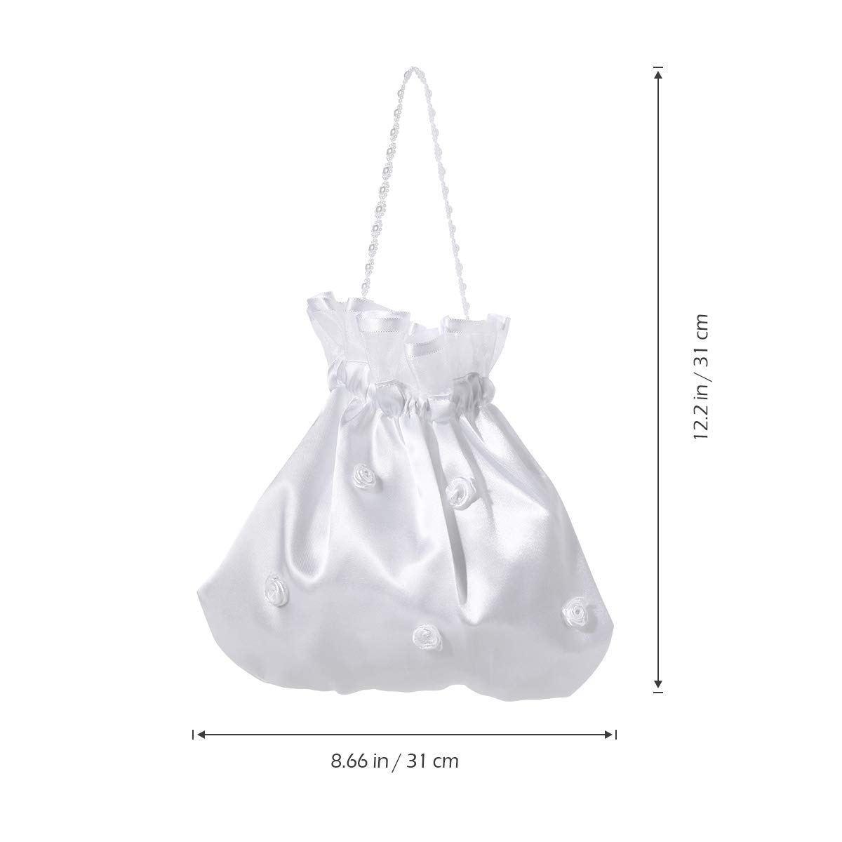 LUOEM Satin Bridal Wedding Money Bag White Bridal Bridesmaid Satin Flower Decorated Bag Handbag Pearl Dollar Dance Bridal Purse Wedding Favor by LUOEM (Image #4)