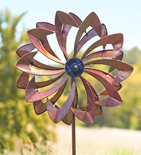 Solar LED Flower Wind Spinner, Metal, Bronze, 21 1/2 in dia. x 11 1/2 in D x 75 in H