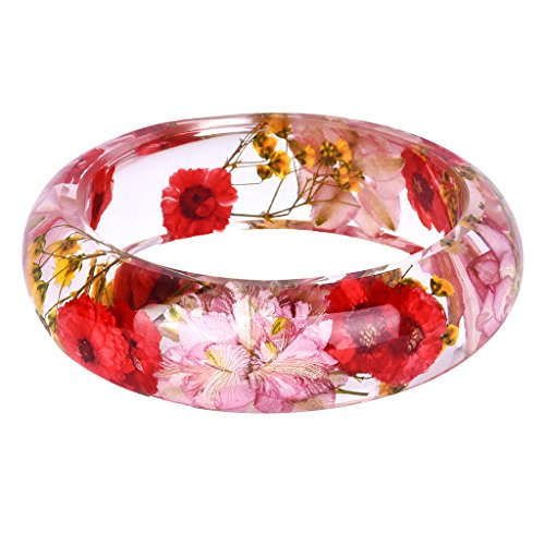 Baoblaze Red Pink Dried Flower Daisy Flower Lucite Resin Bangle Cuff Bracelet for Women
