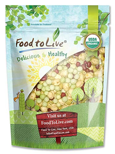 Organic Crunchy Mix of Sprouting Beans, 1 Pound - Non-GMO, Kosher, Non-Irradiated, Vegan, Raw, Dried, Bulk - Organic Green Peas, Organic Adzuki, Organic Lentil, Organic Garbanzo