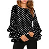 ASfairy Bell Sleeve Blouses for Women, Fashion Loose Polka Dot Printing Shirt Ladies Casual Tops and Blouses Plus Size (US Size:12-14, Black)