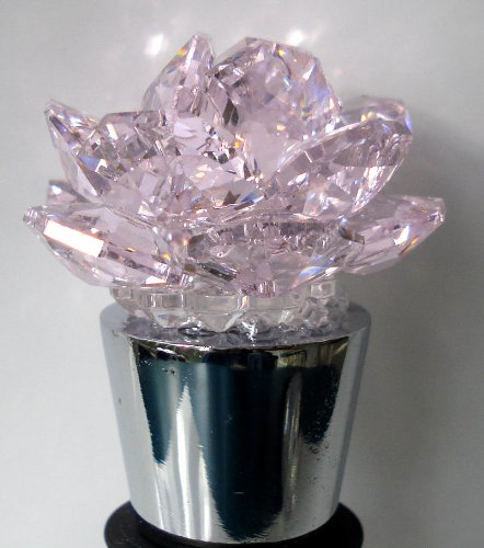 Wine Stopper Pink Rose Made with Swarovski Crystal - Stainless Steel Wine Stopper