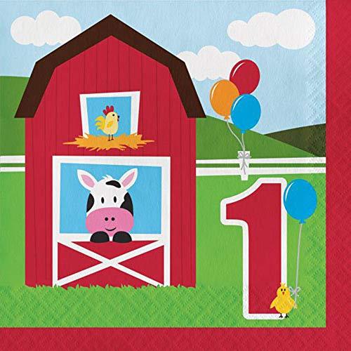 Barnyard 'Farmhouse Fun' 1st Birthday Lunch Napkins - Barnyard Lunch