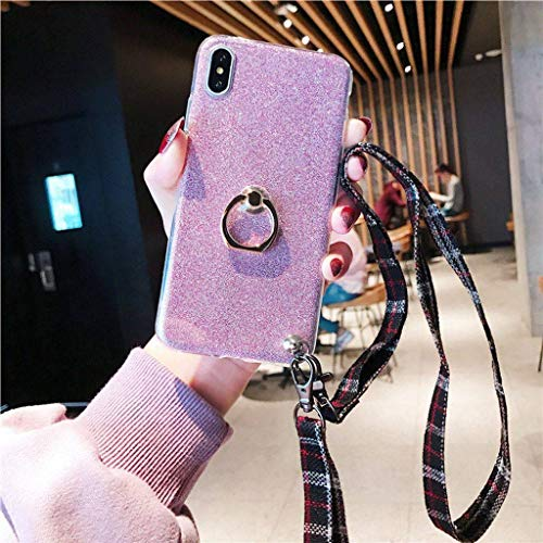 Suitable for iPhone 6 / 6s / 6plus / 6splus / 7/8 / 7plus / 8plus / X/XS/XR/XS Max Phone Shell, Drop Resistance Protective Sleeve with Lanyard Jewelry-Rose Gold-X/XS